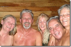 Old people in a sauna