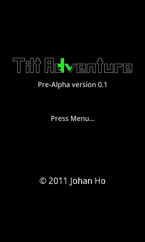 Tilt Adventure Title Screen