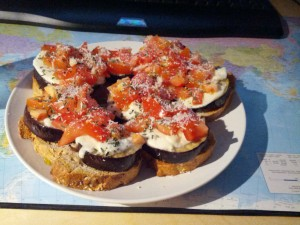 Grilled eggplant with mozarella, tomato, parmesan and basil