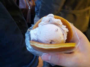 """Pancakes"" with red bean ice cream, bought at Jiufen"